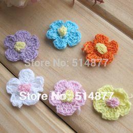 Wholesale Craft Crochet Flowers - 100PCS Fancy Fashion Handmade Woven Pattern Fabric Small Flower Crochet Appliques Doll sewing craft A0138