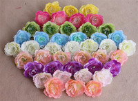 Wholesale Head Flowers Clips - Rose Flower Head Dia. 4.5cm 50Pcs Artificial Silk Camellia for DIY Wedding Bridal Folral Hoop Hair Clip Photograph Props