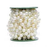 blumen 3mm großhandel-NEUE ART AUF LAGER! 30 meter 12 MM + 3 MM perlen perlen hochzeit girlandenmittel blume / tisch kerze dekoration DIY crafting