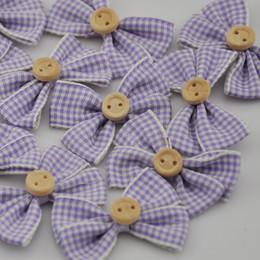 Wholesale Gingham Buttons - 10 pcs Plaids Ribbon Gingham Bow W Button Appliques Mix Color U Pick A067