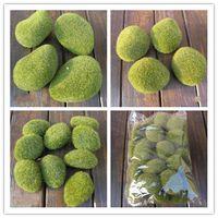 Wholesale Vase Decorations Stones - 30pcs lot free shipping Artificial Green Moss Stones Foam artificial flock pebbles Vase Garden Decorations Various sizes