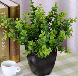 Wholesale Wholesale Rustic Flower Vases - Free shipping Rustic flowers and plants artificial grass home decoration shoots Eucalyptus plant decoration (without vase)