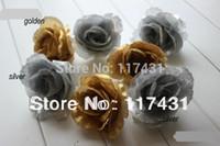 "Wholesale Golden Flowers Decorations - 100 pcs 10cm 3.94"" golden silver Artificial silk Rose Camellia Flower Head Wedding Christmas Decoration DIY flowers"