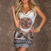 Wholesale Club Dresses Wholesalers - HOT!!!2015 beach dress for summer print vintage party evenning mini dress leopard dress for women sexy club dress free shipping