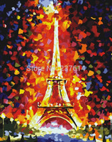 Wholesale Paint Number Kit Oils - Frameless DIY painting 40 50cm Eiffel Tower painting by numbers kits color house unique gift Free shipping home decor
