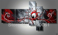 Wholesale Modern Picture Frame Set - Hand Painted Modern Abstract Black White And Red Paintings Wall Canvas 5 Panel Art Picture Decoration Home With No Framed Set