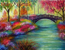 Wholesale Diy Digital Oil Painting - Frameless Painting By Numbers DIY Digital Oil Painting On Canvas Home Decoration 40x50cm Clear water color bridge M015