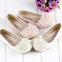 Wholesale Kids Dress Shoes Beige - Wholesale-Princess Girls Baby Toddler Pearl Beads Girls Shoes Lace Party Dress Shoes Flats Kids Shoes Beige, Pink Children Shoes 2-16Y
