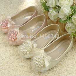 Wholesale Kids Dress Shoes Beige - Wholesale-Princess Girls Baby Toddler Pearl Beads Bowknot Girls Shoes Dress Shoes Mary Jane Flats Kids Shoes Children Shoes Beige, Pink