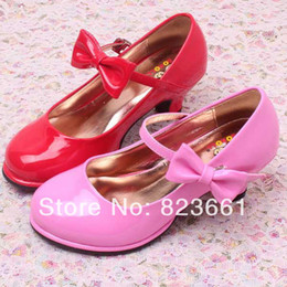 Wholesale Shoes For Bridesmaids - Wholesale-Free Shipping 2015 Pink High Heel Shoes Kids Wedding Shoes for Little Bridesmaid Girls Size 26-36