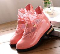 Wholesale Child Leather Shoes - Wholesale-Children Boots Girls Kids Princess Shoes Fashion Lace Little Girls Leather Ankle Boots 2015 Girls Princess Ankle Shoes 838e
