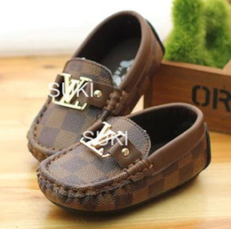 Wholesale Leather Casual Moccasins - Wholesale-Free Shipping Hot Sale Children Baby Boys Kids Casual Leather Shoes Fashion Child Flat Moccasins Stitching Loafer For 1~3 year