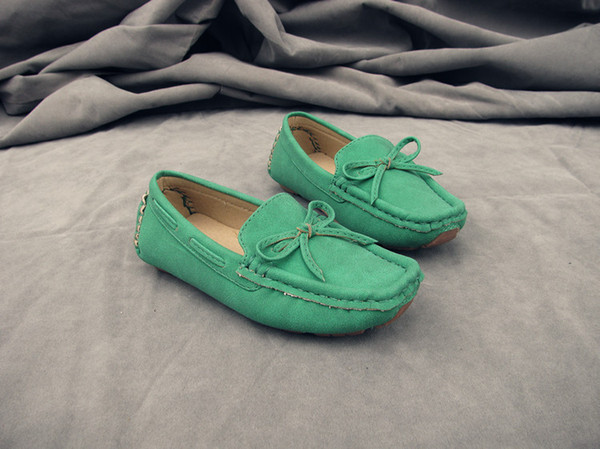 Wholesale-2015 fashion Spring Autumn 23~35 Children Shoes boys moccasins girls loafers shoes child sports 7 colors bowties