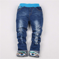 Wholesale Eye Jeans - Wholesale-New girls jeans spring 2015 children fashion slim distrressed jeans pants with eyes flanging for girls 3-8 years !