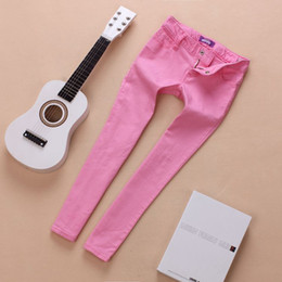 Wholesale- Children girl's fashion slim candy color water wash skinny jeans kid's pencil style denim pants casual cotton bottom