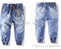 Wholesale Children S Denim Fashion - Wholesale-Wholesale - Free shipping 2015 fashion children 's jeans cotton Denim kids jeans girls pants baby trousers 1PCS LOT