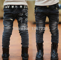 Wholesale jeans boys for sale - Group buy boys jeans spring winter children casual letters belt zipper pocket with fleece thick jeans pants trousers years old