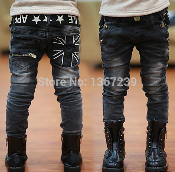 All'ingrosso- ragazzi jeans primavera inverno bambini lettere casuali cintura cerniera tasca con pantaloni di jeans spessi pantaloni in pile 4-14 anni
