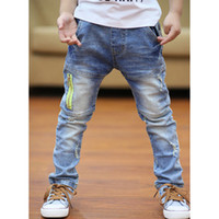 Wholesale High Waist Pants For Toddlers - Wholesale-Retail High quality spring kids pants girls baby boys jeans children jeans for boys casual denim pants 3-9Y toddler clothing