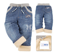 Wholesale Cashmere Baby Pants - Wholesale-BP057 Free shipping thick cashmere winter boys trousers 2015 new style baby pants high quality children jeans retail