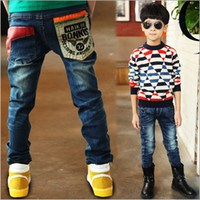 Wholesale Blue Jeggings - Wholesale-2015 kids boy's Leggings Bowknot Jeans Children Pants cashmere pants teenager elastic waist fleece Jeggings N1011