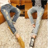 Wholesale Korean Boy Jeans - Wholesale-South Korean children's wear pants, children's big child personality hole patches jeans trousers