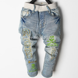 Wholesale Baby Skull Jeans - Wholesale-Spring Autumn Kids Denim Jeans For Boys Harem Loose Denim Jean Pants Trousers Baby Full Stripe Vintage Skulls Style 2015 New