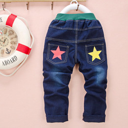 Wholesale High Waist Jeans For Kids - Wholesale-Free shipping spring 2-5 years old high quality casual star print kids trousers boy children jeans for boys