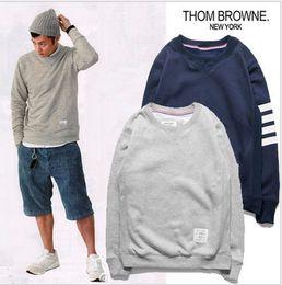 Wholesale Grey Sweatshirts - 2016 striped Men Fashion longsleeve Cotton Sweatshirt Thom Brown Hot Sale Mens Shirts Blue Grey black