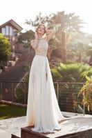 vestido de fenda lateral de cristal sem encosto venda por atacado-Lace Applique Chiffon Prom Halter frisada de cristal curto Side Slit Backless Vestidos praia do verão