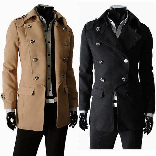 Best Wholesale Men'S Wool Coat Overcoat Double Breasted Trench ...