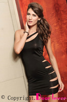 Wholesale Slinky Black Sexy Dress - Slinky Mini Dress Sexy Side Cut Out Dress Black with Matching G-string LC2521 Cheaper price