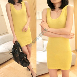 Wholesale Tight T Shirt Dresses - Dropshipping Summer Women Long T-shirt Lady Bottoming Solid Color One-piece Dresses Fashion Slim Hip Tight Tank Vest Dress 10
