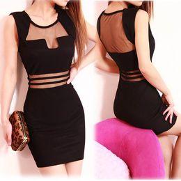 Wholesale Transparent Mini Club Dress - Hot Sexy Dress New 2015 Summer Black White Stripes Transparent Lace Women's Dress Casual Vestidos Club Sheath Dress WF-4905