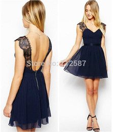 Wholesale Work Clothes Wholesale - 2015 Summer Women Clothing Celebrity Fashion Work Wear Sexy Party Blue Contrast Lace Backless Chiffon Casual Dress