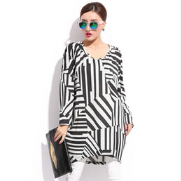 Wholesale Dolman Top Large - XXL Plus Size Women Vestidos Dresses 3XL Big Large Size Lady Striped Dress Fashion Loose Casual Female Tops Long Sleeve Black