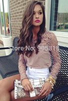 Wholesale Long Sleeves Embroidery Lace Trimmed - 2015 new HOT!Women Lace Sleeve Chiffion Blouses Tops Emboriey Gorgeous Shirts long Sleeve embroidery Crochet Trim Blouse