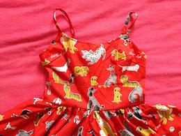 $enCountryForm.capitalKeyWord Canada - Girl Summer 50s Pin Up Vintage Dress Audrey Hepburn Style Red Cotton Dog Printed Spaghetti Strap Rockabilly Dress