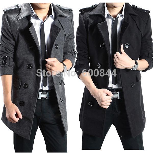 best selling Winter Mens UK Stylish Casual Wool Double Long Jacket Coat Mens Peacoats Parka Cheap Winter Coats For Men Plus Size LLB001