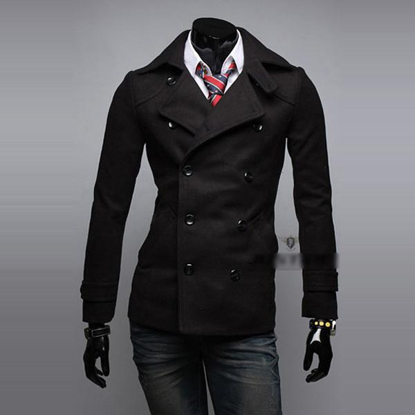 Winter Fashion Men's Slim Fit Double Breasted Casual Woollen Jacket Men Wool Coat Trench Mens Peacoat Overcoat Jaqueta Masculina
