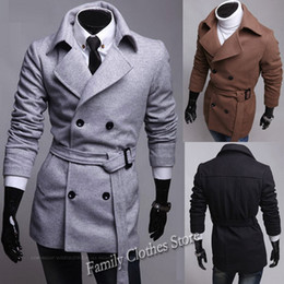 Wholesale Cheap Long Coats For Men - Free Shipping Hot New Black Navy Gray Brown Double Breasted Belt Mens Peacoat Cheap Winter Coats For Men Trench Coat C028