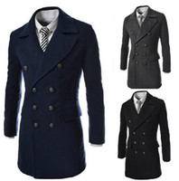 Wholesale Tweed Trench Men - Wholesale - winter fashion mens jacket long trench coat men outdoors coats & jackets Casual polo wool & blends