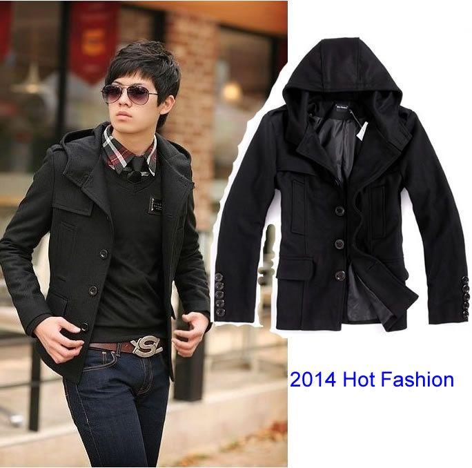 Best Big Wholesales New Men'S Wool Jacket Hood Style Coat Winter ...