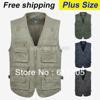 Wholesale Denim Jacket Vest Men - free shipping 2015 summer men's plus size fishing jacket denim vest and outdoor casual multi-pocket waistcoat men Hot sale