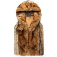 Wholesale Fur Vests For Men - 2015 winter warm mens fur vest Fashion hooded sleeveless coat for men faux fur vest for youth plus size xxxl AY102