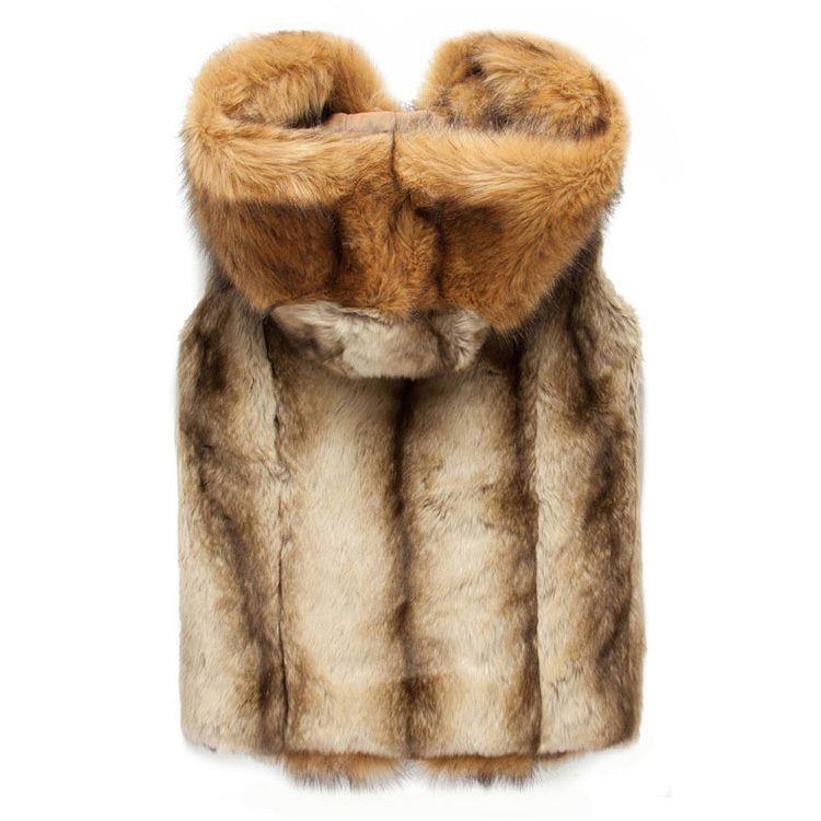2015 kış sıcak erkek kürk yelek Moda kapüşonlu kolsuz ceket erkekler için faux kürk yelek gençlik artı boyutu için xxxl AY102