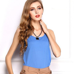 Wholesale Cheap Cute Clothes China - Hot 2015 Tank Cute Candy Color Women Blouse Tropical Tops Casual Chiffon Blouse Cheap Clothes China ropa mujer S-XXXL