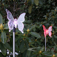 Wholesale Butterfly Garden Stakes   Solar Color Changing Butterfly Garden  Stake Light Freeshipping Dropshipping