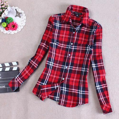 Mulheres Botão Para Baixo Casual Camisa de Lapela Mantas Verifica Camisas de Flanela Tops Blusa Frete Grátis Na primavera da nova camisa xadrez mulheres