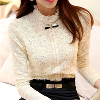 New Fashion Women Tops Autumn Thick Fleece Women Crochet Blouse Lace Shirt Women Clothing Blusas Femininas Blouses & Shirts